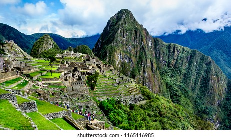 View of the ancient Inca City of Machu Picchu. The 15-th century Inca site.'Lost city of the Incas'. Ruins of the Machu Picchu sanctuary. UNESCO World Heritage site. Wide format