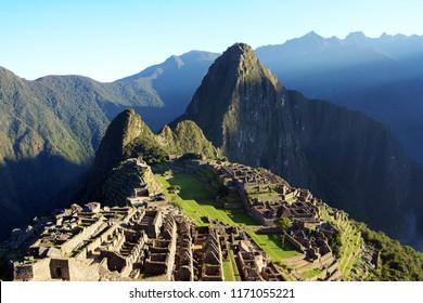 View of the ancient Inca City of Machu Picchu, Peru.