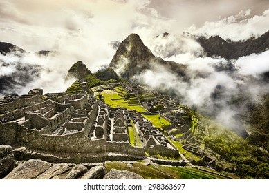 View of the ancient Inca City of Machu Picchu. The 15-th century Inca site.'Lost city of the Incas'. Ruins of the Machu Picchu sanctuary. UNESCO World Heritage site.