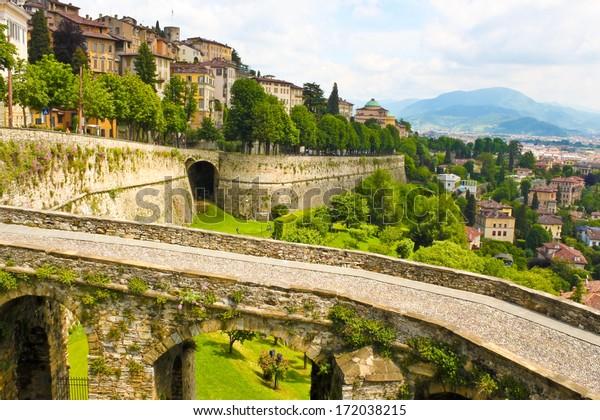 View of ancient italian town Bergamo