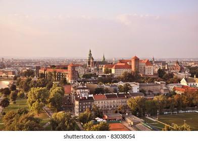 View of the ancient Krakow's Wawel castle, Poland