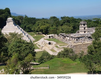 View of the ancient Mayan ruins of Palenque, Chiapas state, Mexico.
