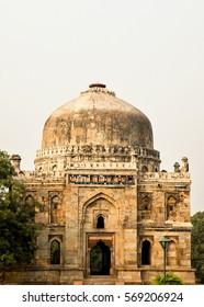 View of the ancient Mughal mausoleum Sheesh Gumbat in park Lodi Gaden in New Delhi, India