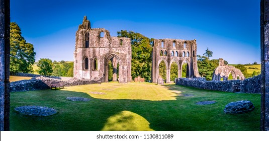 View of the ancient remains of Cistercian Dundrennan Abbey near Kirkcudbright, Scotland, UK