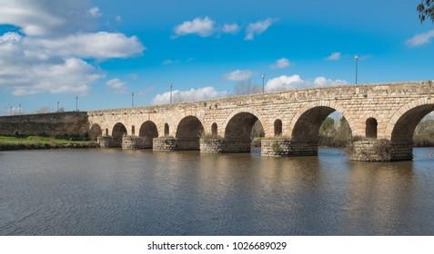 View of the ancient Roman bridge of the city of Merida, ancient Emerita Augusta in Roman times
