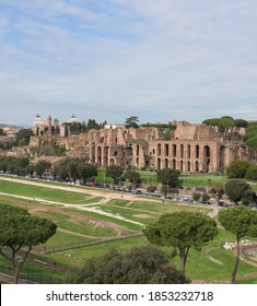 View of the ancient Roman Circo Massimo hippodrome theater, with the ruins of the palace of Domitian on the Palatine Hill, in Rome, Italy