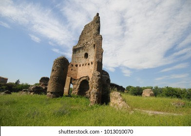 view of ancient roman ruins in gordiani park in rome