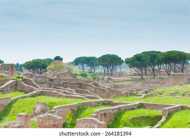 View of Ancient Roman ruins of Ostia Antica, Italy.