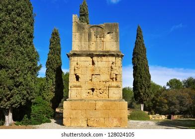 a view of the ancient roman Torre dels Escipions in Tarragona, Spain