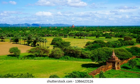View of ancient temple Bagan, Myanmar temples in the Bagan Archaeological Zone, Myanmar.