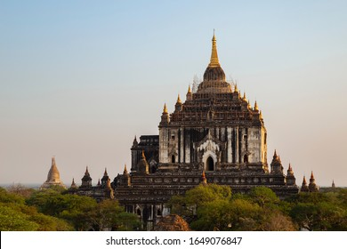 View of the ancient That Bin Nyu (Thatbinnyu) Temple in Bagan, Myanmar (Burma), on a sunny afternoon. It was built in the mid-12th century. Temple is under restoration after an earthquake.