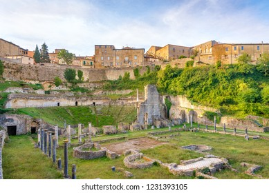 View at the Ancient Theatre of Volterra in Italian Tuscany