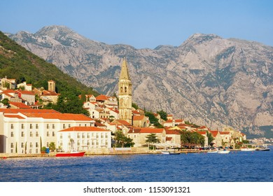 View of the ancient town of Perast with the bell tower of the church of St. Nicholas. Montenegro, Bay of Kotor