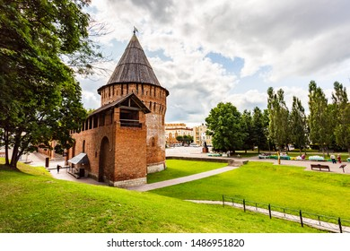View of the ancient urban fortress wall (1595-1602). Zodchius F.S.Kony. Most of the fortress was destroyed in November 1812 by the retreating troops of Emperor Napoleon. Smolensk, Russia