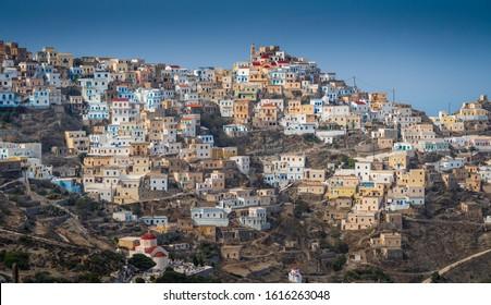 View of ancient village Olympos,Karpathos island,Greece