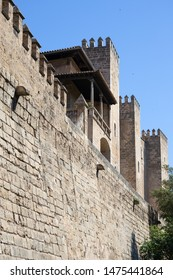 View of the ancient walls of the fortress , Cathedral of Palma de Mallorca, Spain