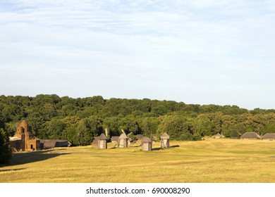 View of ancient wooden windmills and residential buildings of a village settlement in the background of the forest