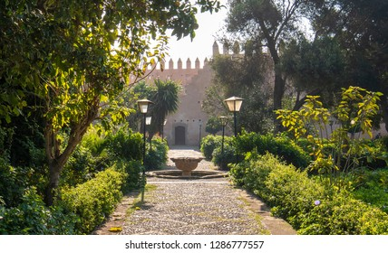View of the Andalusian Gardens in The Kasbah of the Udayas ancient fortress in Rabat in Morocco is located at the mouth of the Bou Regreg river. Rabat is the capital of Morocco. Jardin Andalous