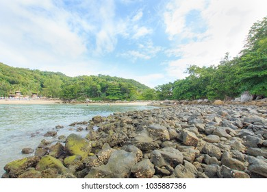 View of the Andaman Sea at the evening, Paradise beach,Phuket Thailand Tropical countries At the top of the island.