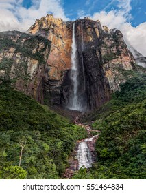 View of the Angel Falls (Salto Angel) is worlds highest waterfalls (978 m) on a sunny day - Venezuela, Latin America