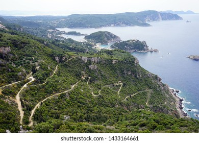 View from Angelokastro fortress on the west coast of Corfu island, Greece
