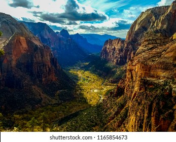 View From Angels Landing of valley and virgin river, Zion National Park