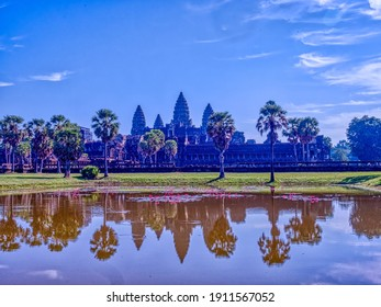 View of Angkor Wat at sunrise, Archaeological Park in Siem Reap, Cambodia.