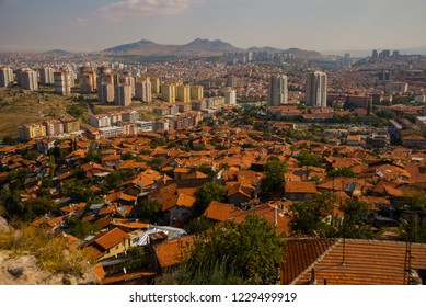 View of Ankara from Castle. Houses with tiled roofs and skyscrapers. Ankara, Turkey