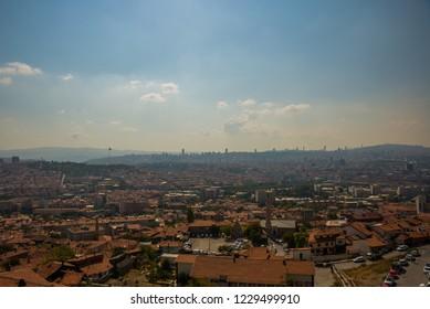 View of Ankara from Castle. Panorama of the city from above the capital of Turkey. Ankara, Turkey