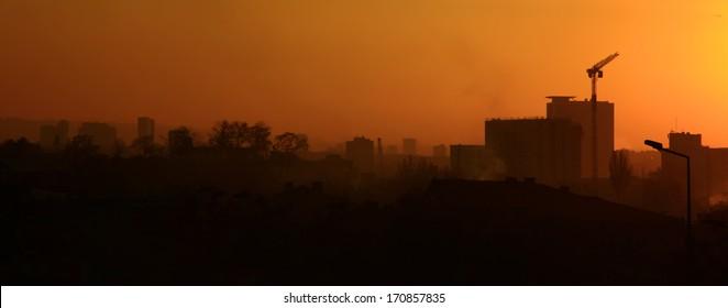 View of the Ankara, Turkey. Sunset.
