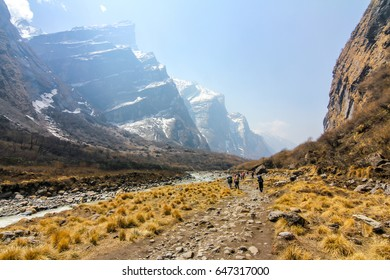 View of Annapurna mountains during trek to Annapurna base camp, Nepal Himalaya