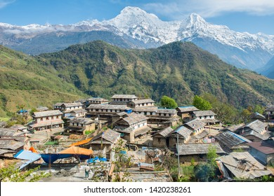 View of Annapurna range includes Annapurna South and Mt.Himchuli view from Ghandruk village in northern-central of Nepal. Ghandruk is most popular for wonderful Gurung culture in Nepal.