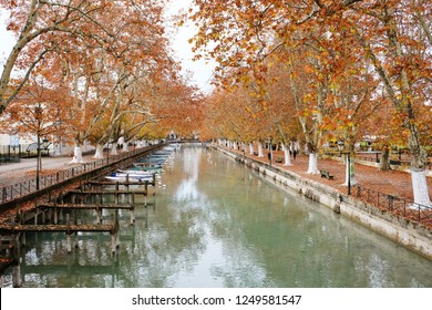 View of Annecy canal in autumn