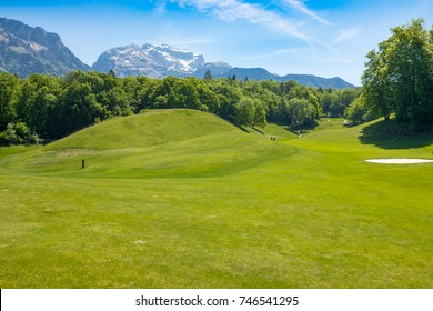 The view of Annecy golf course with beautiful mountains on the background
