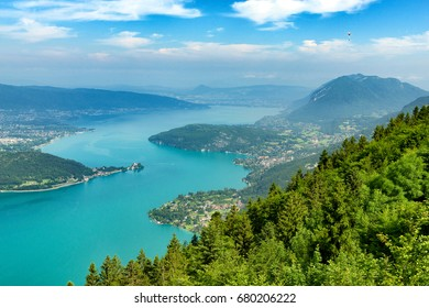 a view of the Annecy lake in the french Alps