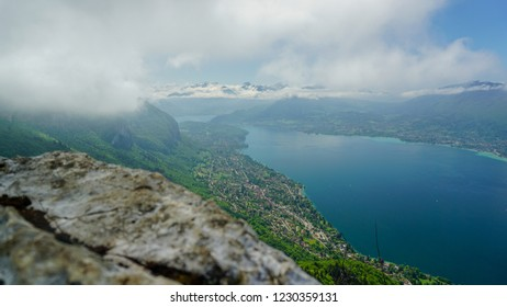 View of Annecy lake from the top of a mountain