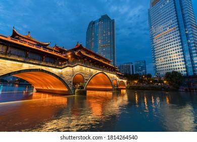 View of Anshun Bridge and modern buildings in Chengdu
