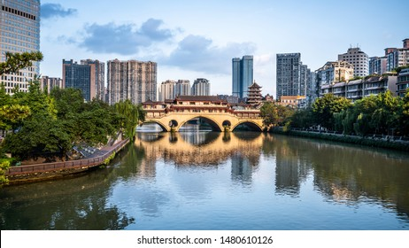 View of Anshun bridge on daytime and city and river panorama in Chengdu Sichuan China