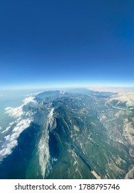 A view from the Antalya Taurus Mountains taken from the plane in the crystal clear day.