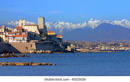 View of Antibes, south of France. Including the sea, alps and Picasso museum.