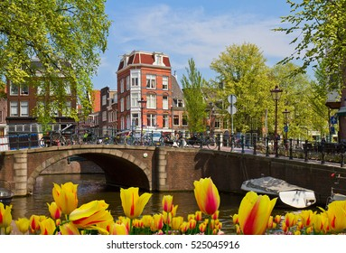view of antique canal ring in Amsterdam, Netherland