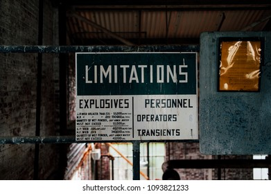 A view of an antique limitations sign inside the Water Dry House at the long abandoned Indiana Army Ammunition Plant, which produced black powder and mostly closed after the Vietnam War.