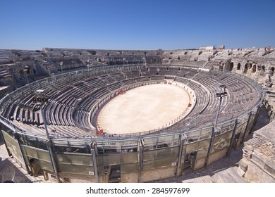 """View of the antique theatre and arena of """"Nimes"""", Nimes, France"""