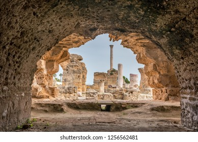 View of the Antonine Baths in the ancient city of Carthage, Tunisia