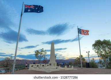 view of Anzac Hill memorial on a clear winter's evening in Alice Springs - Alice Springs Australia 10.10.2019