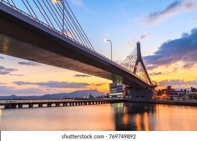 View of Aomori Bridge at sunrise scene,  Aomori Bay, Tohoku, Japan.