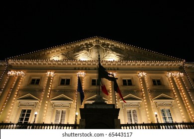 View of Aosta City Hall decorated for christmas(Aosta, Valle D'Aosta, Italy)