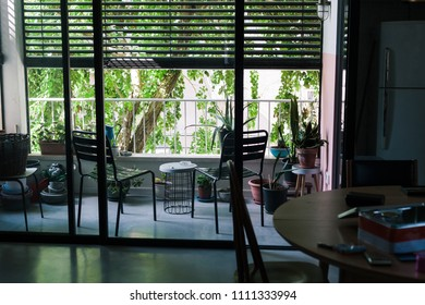 View of an apartment's terrace from within
