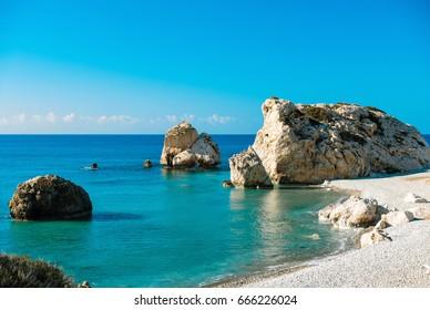 View of Aphrodite's rock (Petra tou Romiou), Cyprus