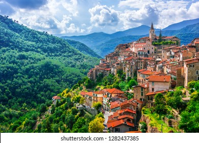 View of Apricale in the Province of Imperia, Liguria, Italy.